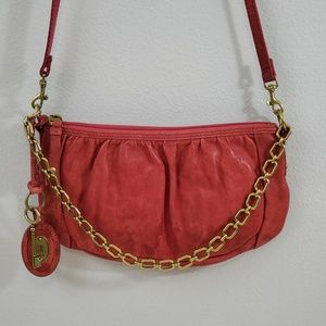 Fossil Leather Chain Red Crossbody Bag Purse